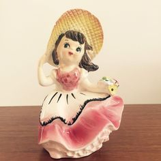 VINTAGE GIRL BONNET PLANTER VASE CERAMIC FIGURINE 1950's  ESD Japan LEFTON! | Collectibles, Decorative Collectibles, Decorative Collectible Brands | eBay!