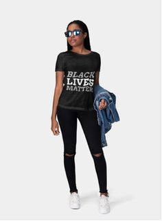 Black Lives Matter T-shirt for support of BLM Facebook Black, Summer Outfits, Summer Clothes, Sporty, Unisex, Tees, Cotton, T Shirt, How To Wear