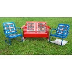 Porch glider patio set