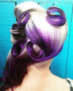 blonde purple dyed pin curl retro vintage rockabilly ombre hair color inspiration @hairbymisskellyo