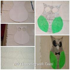 Owl  / Glitter & Acrylic green colour