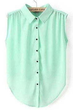 Work Essential Turndown Collar Sleeveless Green Chiffon Blouse