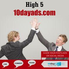 High 5 10dayads.com #PostFreeClassifiedAdsInUSA #FreeAdvertisingSites