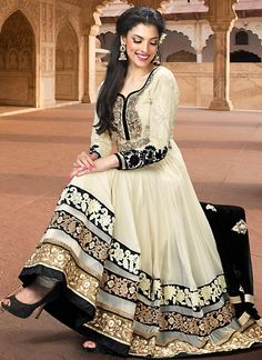 Cream Faux Georgette Long Length Anarkali Salwar Kameez