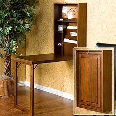 Southern Enterprises Wall Mounted Convertible Writing Desk - Walnut - A desk that mounts on the wall. No, we're not kidding. One minute the Southern Enterprises Wall Mounted Convertible Writing Desk - Walnut looks like. Wall Mounted Folding Table, Wall Mounted Desk, Folding Desk, Wall Desk, Home Office Desks, Office Furniture, Diy Furniture, Furniture Stores, Furniture Projects