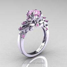 Classic Angel 14K White Gold 1.0 Ct Light Pink Sapphire Solitaire Engagement Ring R482-14KWGLPS