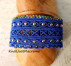 Blue macrame cuff from Knot Just Macrame Macrame Jewelry, Macrame Bracelets, Bracelet Patterns, Bracelet Designs, Micro Macrame Tutorial, Handmade Jewelry Designs, Metal Beads, Bead Weaving, Jewelry Making