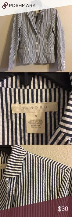 Sandro seersucker striped blazer small Measures 18 inches pit to pit Measures 23 inches in length 100% cotton Sandro Jackets & Coats Blazers
