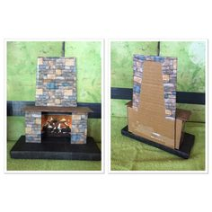 Homemade American Girl fireplace. Cover cardboard w scrapbook paper, printed photo of brick and photo of fire for inside. Followed a tutorial from My Froggy Stuff.