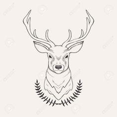 Vector Vector Hand Drawn Illustration Of Deer And Laurel Royalty Free .Vector Hand Drawn Illustration Of Deer And Laurel Royalty Free . Hirsch Illustration, Deer Illustration, Deer Drawing Easy, Easy Drawings, Drawing Ideas, Deer Head Tattoo, Deer Sketch, Deer Head Silhouette, Deer