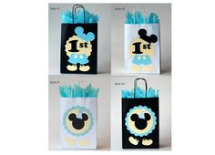 Baby Mickey Mouse favor bags decorations Boy first birthday Dulceros Mickey Mouse, Mickey Mouse Treats, Mickey Mouse 1st Birthday, Boy First Birthday, Minnie Mouse Party, Mouse Parties, First Birthday Parties, First Birthdays, Festa Mickey Baby