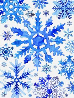 Blue Watercolor Snowflakes by Margaret Berg