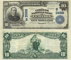 Banknotes of Kentucky (USA)  10 Dollars 1909 (Citizens NB of Lebanon) (W. McKinley)