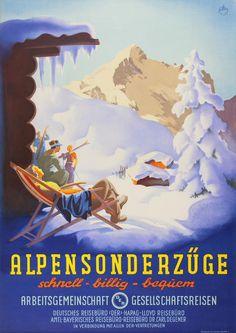 Martin Peikert - vintage Swiss Alps ski travel poster  #Switzerland