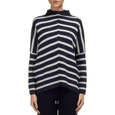 Whistles Chevron Funnel Neck Sweater (2.133.390 VND) ❤ liked on Polyvore featuring tops, sweaters, chevron sweater, chevron top, whistles sweater, chevron print tops and blue sweater