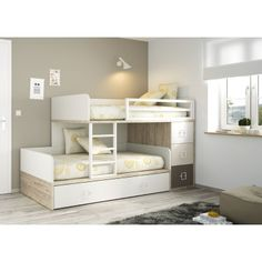 Bunk bed with drawers and an extra compact bed