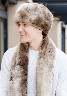 Order your Men's Timber Wolf Faux Fur Russian-Style Hat Today. Luxury faux fur coats, jackets, accessories, throws & more. Timber Wolf, Fur Accessories, Fabulous Furs, Russian Fashion, Fur Fashion, Faux Fur, Fall Outfits, Fur Coat, Winter Hats
