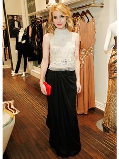 Emma Roberts is one of our best-dressed celebs of the week in Temperley London.