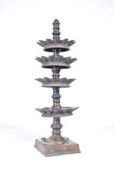 Antique indian Bronze multi tier oil lamp