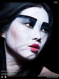 Geisha make up Makeup Inspo, Makeup Art, Makeup Inspiration, Beauty Makeup, Eye Makeup, Hair Makeup, Fantasy Inspiration, Makeup Ideas, Futuristic Makeup