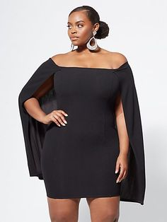 Plus Size Amina Cape Dress - Fashion To Figure Cape Dress 6cb9ac95db5d