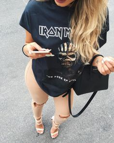 fashion, style, and outfit Bild Spring Outfits, Trendy Outfits, Cute Outfits, Fashion Outfits, Fashion Trends, Band Tee Outfits, Fashion Moda, Womens Fashion, Looks Style