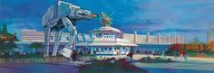 (International) Disneyland concept art by Tim Delaney for Star Tours, the Living Seas, Pirates of the Caribbean, and EPCOT. Walt Disney Imagineering, Walt Disney Co, Walt Disney Studios, Disney Parks, Disney Land, Star Tours Disneyland, Disneyland Paris, Space Mountain, Disney Concept Art