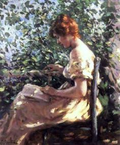 ✉ Biblio Beauties ✉ paintings of women reading letters & books - Lillian Mathilde Genth