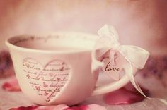 Written-On Heart Tea Cup.