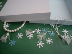 Frosted Snow Angel & White Swarovski Pearl Bead Christmas Jewellery Set. Made to order. Guardian Angel Jewellery. Handmade. In gift box by HazelsWeddingShop on Etsy