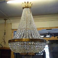 Crystal chandelier will be eye-catching dominant of any interior. Furniture Restoration, Vintage Furniture, Chandelier, Ceiling Lights, Eye, Crystals, Lighting, Retro, Interior