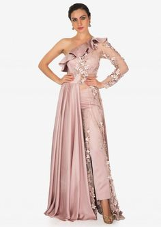 Soft Lavender A Line Suit With Ruffle Neckline And Flower Matched With Pants Online - Kalki Fashion Party Wear Indian Dresses, Indian Gowns, Indian Wedding Outfits, Pakistani Dresses, Indian Outfits, Neckline Designs, Blouse Designs, Lehnga Dress, Bollywood Dress