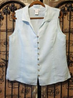 Soft Surroundings 100% Linen Light Blue Sleeveless Top Lagenlook Size L #SoftSurroundings #ButtonDownShirt #any