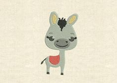 Machine embroidery design cute animals donkey