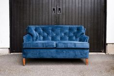 Deep blue velvet loveseat with button tufted back detail. Blue Velvet Loveseat, Tufting Buttons, Deep Blue, Love Seat, Lounge, Couch, Furniture, Home Decor, Airport Lounge