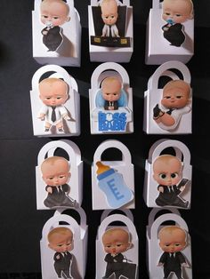 Baby Boss Party Boxs 12pcs. 12 White Party Boxs with 12 Assorted Baby Boss image on each. Size: 3 in. X 3in. Made: Heavy Card Stock with Die Cut Images. We can do custom Black boss baby you must request it in note to seller! All white babys will be replaced with black boss baby if Baby Boy Birthday Themes, Prince Birthday Party, Boss Birthday, Wild One Birthday Party, Boy First Birthday, Boy Birthday Parties, Baby Party, Birthday Backdrop, Boss Baby