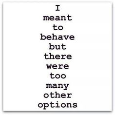 I meant to behave....