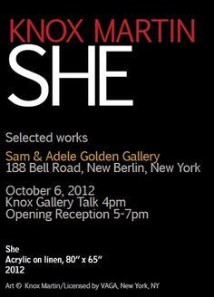 KNOX MARTIN: SHE (Selected Works), October 6, 2012 New York October, New Berlin, The Selection, It Works, About Me Blog, Shit Happens, Art, Art Background, Kunst