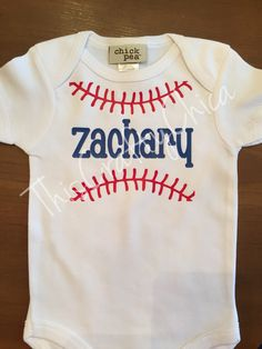 Personalized baby baseball creeper baby boy stitches sports name - Beckett Baby Name - Ideas of Beckett Baby Name - Personalized baby baseball onesie baby boy by ThisCraftyChica Color Names Baby, Baby Names, Boy Onsies, Onesies, Baby Onesie, Baseball Onesie, Baby Boy Baseball, Baby Boys, Toddler Boys