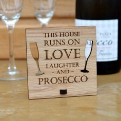 Pretty Personalised This House Runs on Love Laughter and Prosecco – Personalised Oak Wooden Sign ll Professionally engraved on to beautiful, real oak veneered wood. This top quality sign can be completely personalised if you would rather the plaque said something different - just let us know when purchasing! The perfect housewarming gift or new home present for your house. Shop http://prettypersonalised.co.uk #gifts #giftshop #handmadegifts #newhome #housewarming #prosecco #bubbly