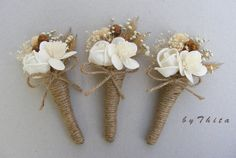 3 Mini  Dried Flower Bouquets  /   Wedding  by byThita on Etsy