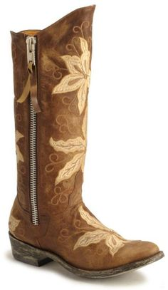brown flower boots