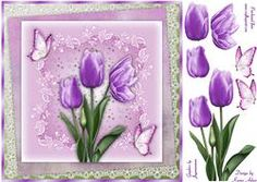 Tantalising Tulips In Lilac Square Card Front With Decoupage