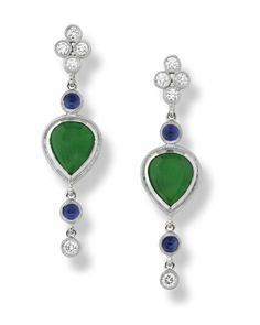 Gorgeous 18KW gold, diamond and sapphire Green Jade earrings!!!