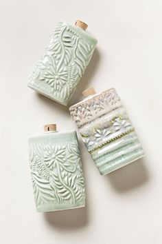 Flasks by Chase Brown Ceramic Art--wondering if these are slip-cast. fantastic design and celadon-ish glaze