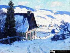 A Farm, Last Rauys Artwork By Clarence Gagnon Oil Painting & Art Prints On Canvas For Sale Canadian Painters, Canadian Artists, Clarence Gagnon, Hunters In The Snow, Art Prints For Sale, Winter Art, Winter Trees, Art Database, Illustrations