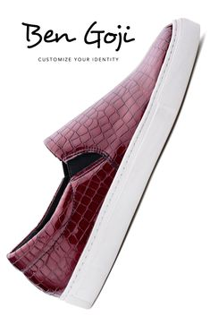 Slip On Shoes For Women Leather Flats Karman is a slip-on model made of leather with a red wine crocodile print patent leather coating. For women who seek an energetic, proactive, elegant and multifaceted look. Leather Flats, Leather Sneakers, Patent Leather, Red Sneakers, Dress With Sneakers, Wedding Sneakers, Burgundy Shoes, Boho Inspiration, Custom Shoes