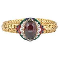 Rare Mid Victorian Garnet and Pearl Bracelet