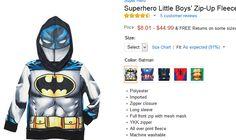 Super Hero Little Boys Zip-Up Fleece Hoodie with Mesh Mask