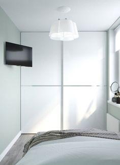 Kis hálószoba világoszöld falszínnel, tolóajtós gardróbszekrénnyel - Lakberendezés trendMagazin Divider, Room, Furniture, Home Decor, Bedroom Decor, Bedrooms, Arquitetura, Houses, Bedroom
